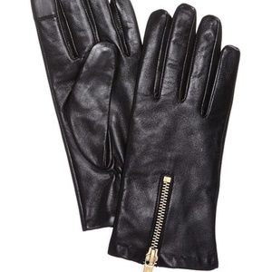 Michael Kors Zipper Leather Gloves, Black. NWT!